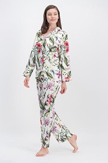 Arnetta Arnetta Orchid Ekru Kadın Saten Gömlek Pijama Ekru